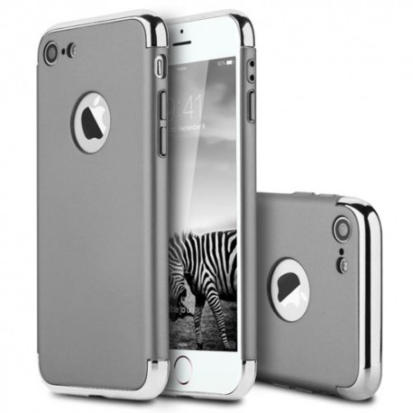 Coque rigide avec contour argenté iPhone 7 argent
