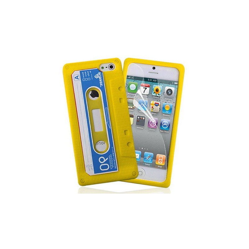 housse cassette en silicone jaune iphone 5 5s se tout pour phone. Black Bedroom Furniture Sets. Home Design Ideas