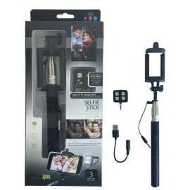 Kit perche selfie avec Flash 4 LED noir avec packaging