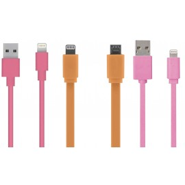 Câble plat USB lightning couleurs