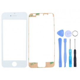 Kit vitre tactile blanc iPhone 5/5S/5C + scotch + outils