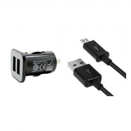 Prise double allume cigare + câble micro usb noir