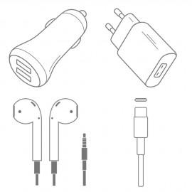 Pack chargeur complet USB-C + écouteurs jack + prise allume-cigare