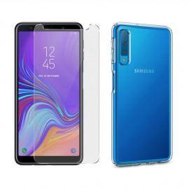 Coque silicone + verre trempé Samsung Galaxy A7 (2018)
