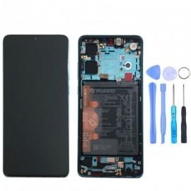 Ecran complet (châssis + batterie) d'origine Huawei P30 Bleu Aurore + outils