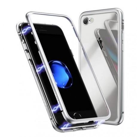 Coque intégrale magnétique argent iPhone 7 / iPhone 8 / iPhone SE (2020)