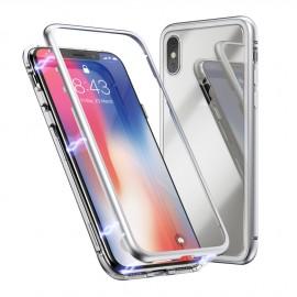 Coque intégrale magnétique argent iPhone X / XS