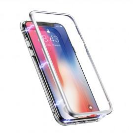 Coque intégrale magnétique argent iPhone 11 Pro Max