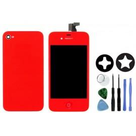 Vitre écran tactile rouge iPhone 4S + vitre arrière