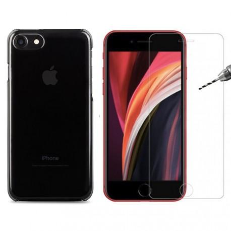 Coque rigide verre trempé iPhone SE (2020)