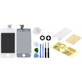 Vitre tactile blanche iPhone 4 ecran LCD + bouton home blanc + outils